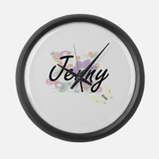 Jenny Artistic Name Design with F Large Wall Clock