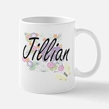 Jillian Artistic Name Design with Flowers Mugs