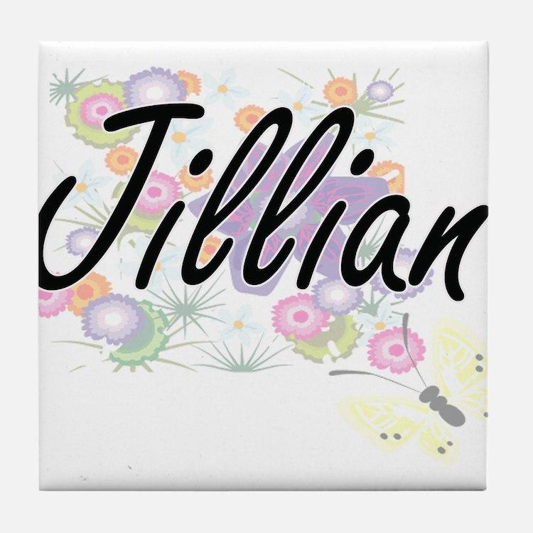 Jillian Artistic Name Design with Flo Tile Coaster