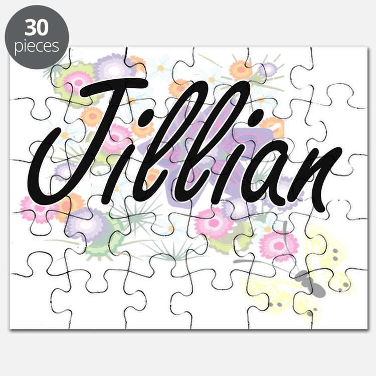Jillian Artistic Name Design with Flowers Puzzle