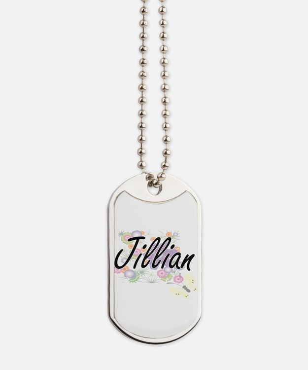 Jillian Artistic Name Design with Flowers Dog Tags