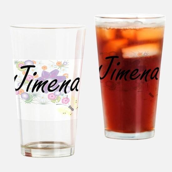 Jimena Artistic Name Design with Fl Drinking Glass