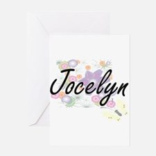 Jocelyn Artistic Name Design with F Greeting Cards