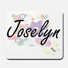 Joselyn Artistic Name Design with Flower Mousepad
