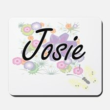 Josie Artistic Name Design with Flowers Mousepad