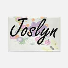Joslyn Artistic Name Design with Flowers Magnets