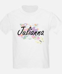 Julianna Artistic Name Design with Flowers T-Shirt