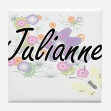 Julianne Artistic Name Design with Fl Tile Coaster