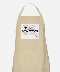 Julianne Artistic Name Design with Flowers Apron
