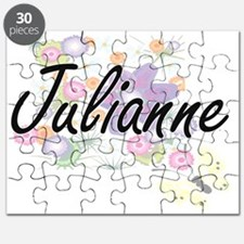 Julianne Artistic Name Design with Flowers Puzzle