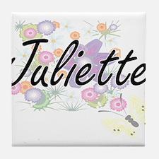 Juliette Artistic Name Design with Fl Tile Coaster