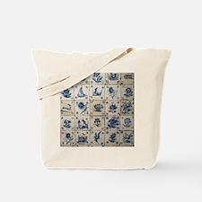 Antique Tile Art Grid Tote Bag