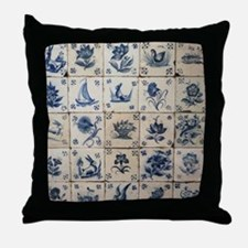 Antique Tile Art Grid Throw Pillow