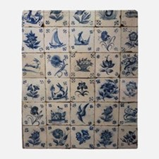 Antique Tile Art Grid Throw Blanket