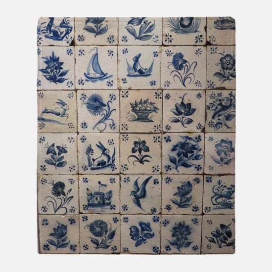 Antique Tile Art Grid Throw Blanket