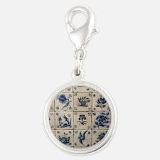 Antique Tile Art Grid Silver Round Charm
