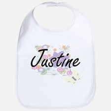 Justine Artistic Name Design with Flowers Bib