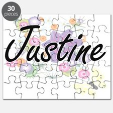 Justine Artistic Name Design with Flowers Puzzle