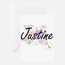 Justine Artistic Name Design with F Greeting Cards