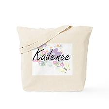 Kadence Artistic Name Design with Flowers Tote Bag