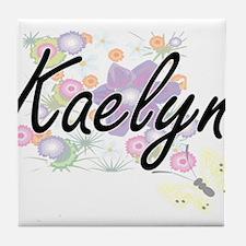 Kaelyn Artistic Name Design with Flow Tile Coaster