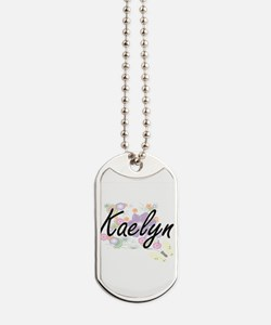 Kaelyn Artistic Name Design with Flowers Dog Tags