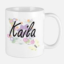 Kaila Artistic Name Design with Flowers Mugs
