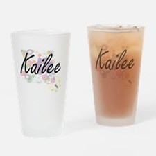 Kailee Artistic Name Design with Fl Drinking Glass