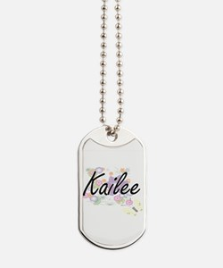 Kailee Artistic Name Design with Flowers Dog Tags