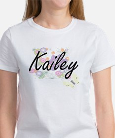 Kailey Artistic Name Design with Flowers T-Shirt