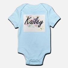 Kailey Artistic Name Design with Flowers Body Suit