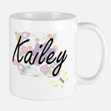 Kailey Artistic Name Design with Flowers Mugs
