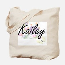 Kailey Artistic Name Design with Flowers Tote Bag