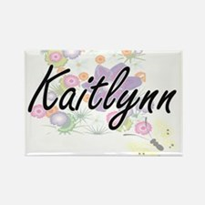 Kaitlynn Artistic Name Design with Flowers Magnets