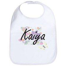 Kaiya Artistic Name Design with Flowers Bib