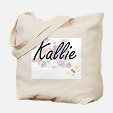 Kallie Artistic Name Design with Flowers Tote Bag