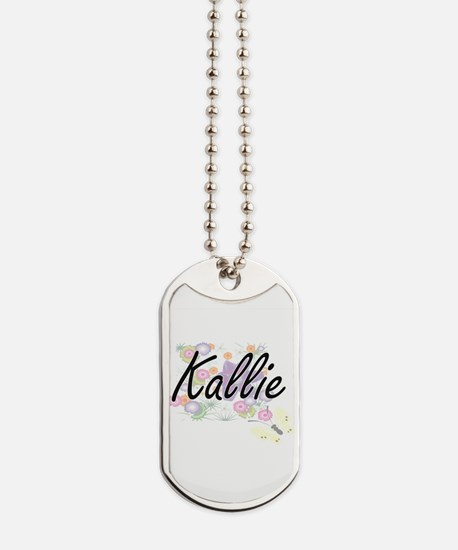 Kallie Artistic Name Design with Flowers Dog Tags