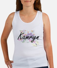 Kamryn Artistic Name Design with Flowers Tank Top