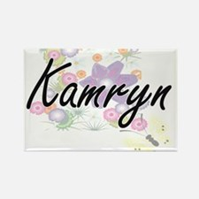 Kamryn Artistic Name Design with Flowers Magnets