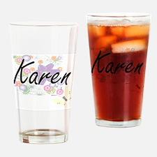 Karen Artistic Name Design with Flo Drinking Glass