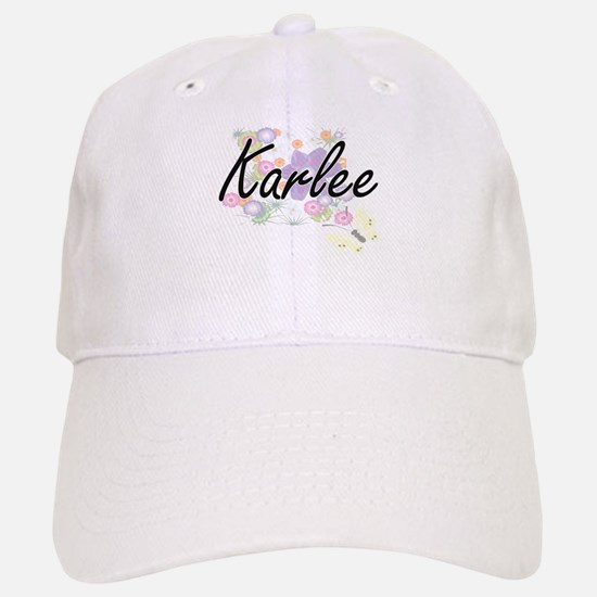 Karlee Artistic Name Design with Flowers Cap