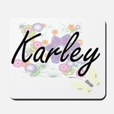 Karley Artistic Name Design with Flowers Mousepad