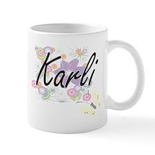 Karli Artistic Name Design with Flowers Mugs