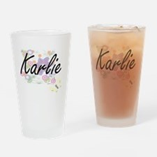 Karlie Artistic Name Design with Fl Drinking Glass