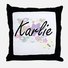 Karlie Artistic Name Design with Flow Throw Pillow