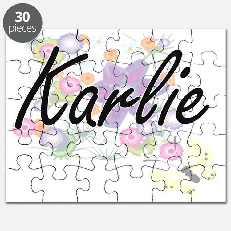 Karlie Artistic Name Design with Flowers Puzzle
