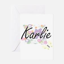 Karlie Artistic Name Design with Fl Greeting Cards