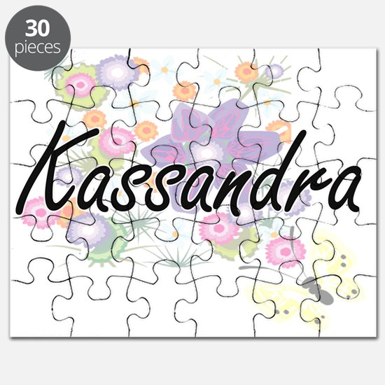 Kassandra Artistic Name Design with Flowers Puzzle