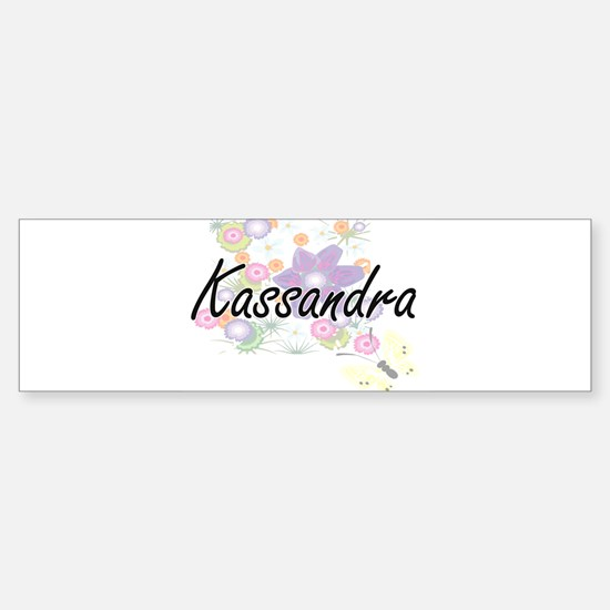 Kassandra Artistic Name Design with Bumper Car Car Sticker