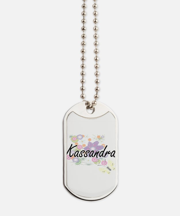 Kassandra Artistic Name Design with Flowe Dog Tags